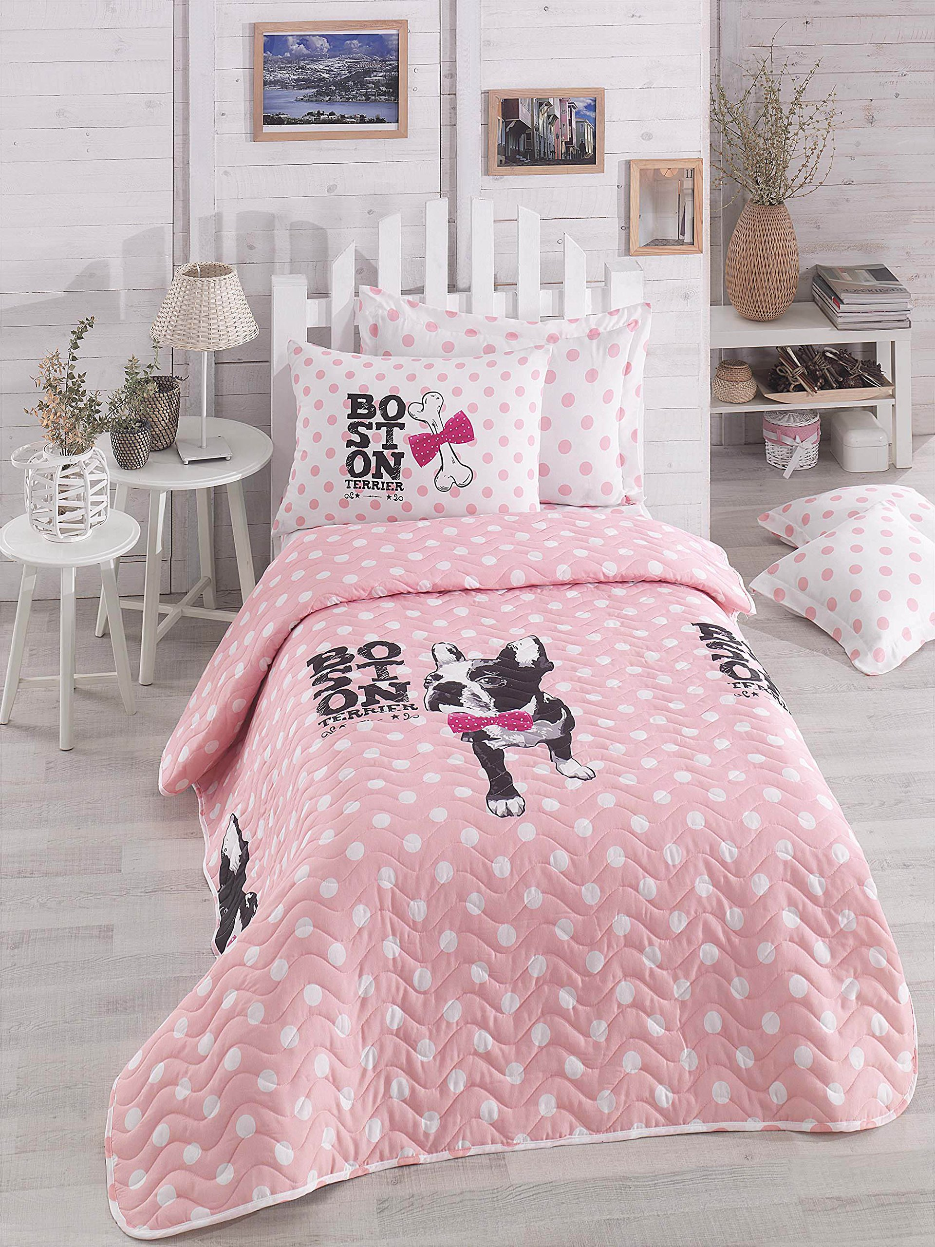 Polka Dot Bedding, Single/Twin Size Bedspread/Coverlet Set, Dogs Themed Girls Bedding, 2 PCS, Pink White