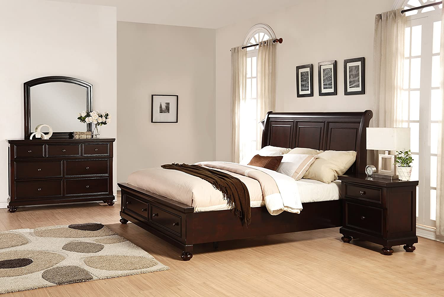 cherry bedroom set. Amazon com  Roundhill Furniture Brishland Storage Bedroom Set Includes Queen Bed Dresser Mirror and Nighstand Rustic Cherry Kitchen Dining