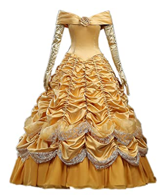 792501185208 Cosrea Cosplay Beauty And Beast Princess Belle Disney Park Classic Satin Cosplay  Costume Custom Sizing (XS): Amazon.co.uk: Clothing