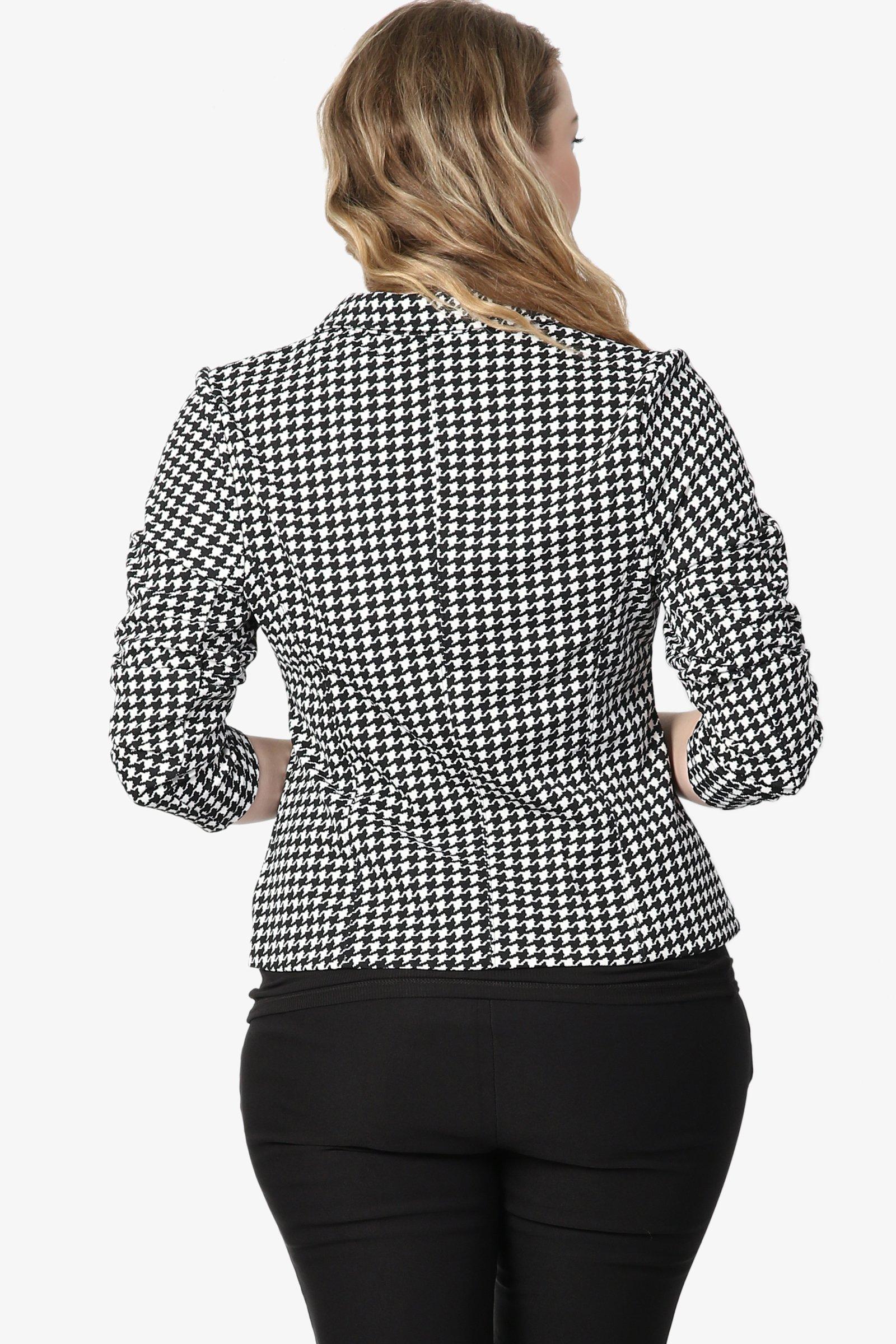 TheMogan Junior's Checker Faux Leather Pocket Slim Fit Blazer Jacket Black 1XL by TheMogan (Image #2)