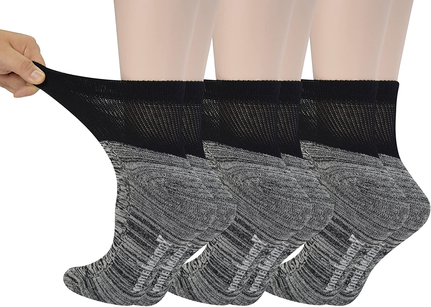 Yomandamor Women's 6 Pairs Bamboo Diabetic Ankle Socks with Non-Binding Top And Cushion Sole,L Size(Socks Size:9-11)