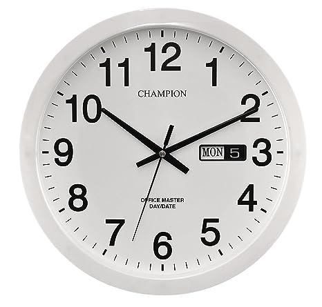 c965b2a11262ca Champion - Orologio da parete al quarzo, grande, per ufficio, con data,