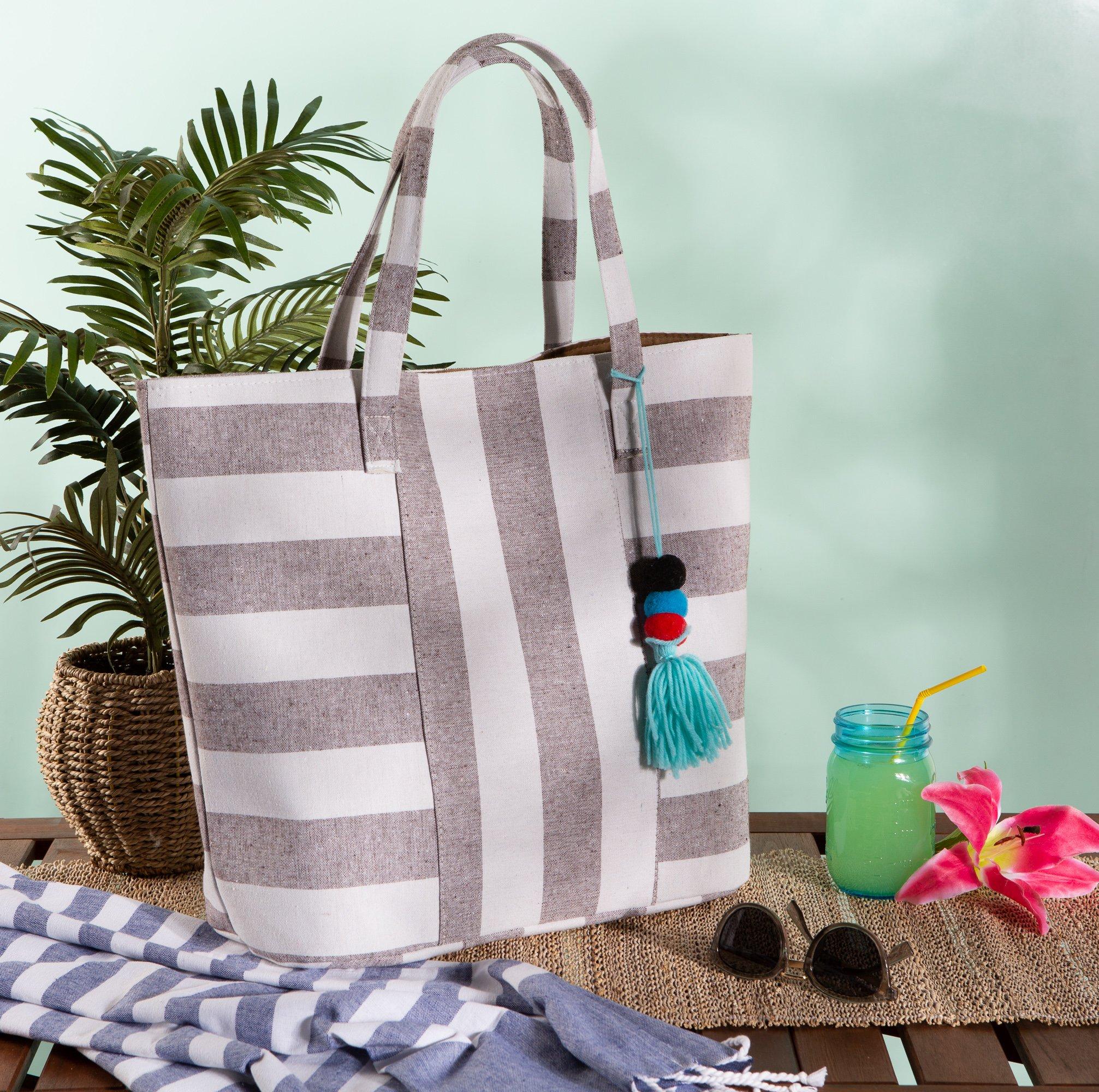 DII Boho Stripe Beach Bag 16x20x7 Shoulder Travel Tote Black, Boho Stripe Brown by DII (Image #9)