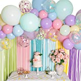 Pastel Balloon Garland Kit - Macaron Balloon Arch Kit for Parties - Small and Large Balloons, Gold Confetti, Mint, Pink…