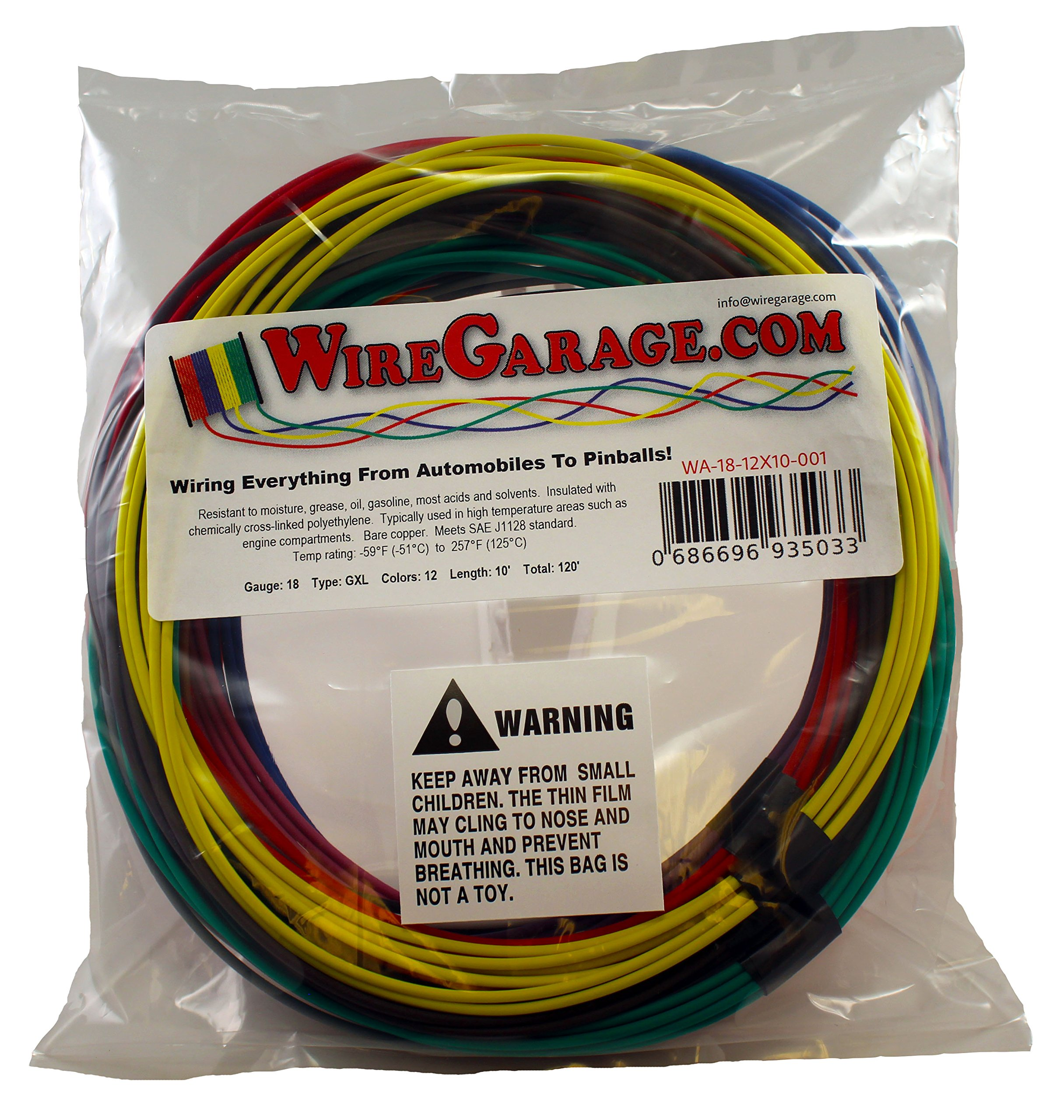 High Temp GXL Cross-Link XLPE Stranded Wire, 18 AWG Gauge, SAE J1128, Automotive, Motorcycle, Electrical, 10' Each of 12 Solid Colors (120' Total)