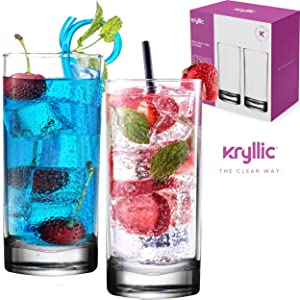 Plastic Tumbler Cups Drinking Glasses - Acrylic Highball Tumblers Set of 2 Clear 16 oz Unbreakable Reusable Kitchen Drinkware Dishwasher Safe Bpa Free Hard Rocks Glass Drink Cup for Wine Water Juice …