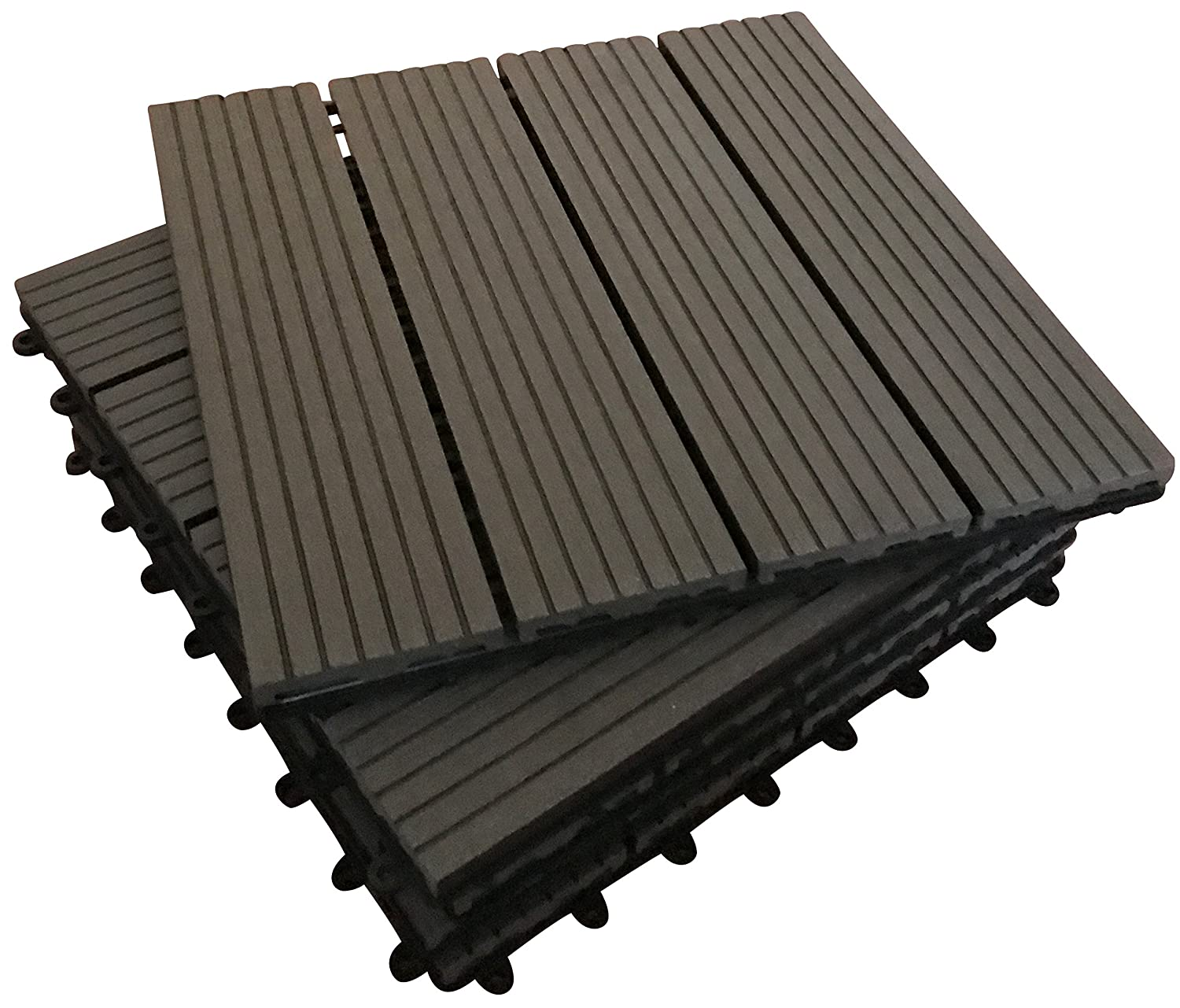 36 x Interlocking Composite Sonnendeck Fliesen – Ebenholz click-deck Fliesen – Terrasse, Garten, Balkon, Hot Tub. 30 cm quadratisch Deck Tile