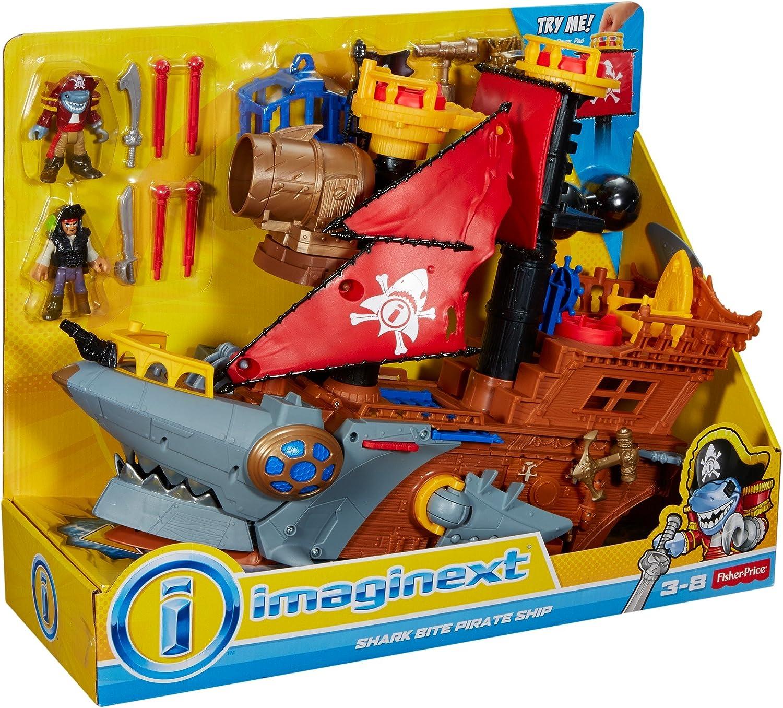 Imaginext DHH61 Nave dei Pirati a Forma di Squalo con Mini Personaggi e Accessori Giocattolo per Bambini 3+Anni