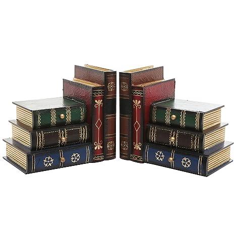 amazon com mygift stacked books wood bookends desktop organizer