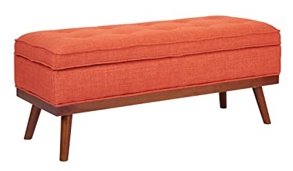Ave Six Katheryn Storage Bench With Tufted Seat And Wood Finish Legs,  Tangerine Fabric