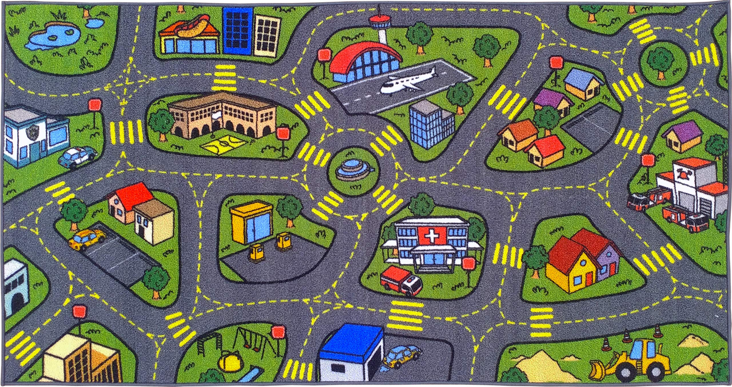 Jungtier KCP010032-2x5 Fun Time Retro City Traffic Car Road Map Educational Learning & Game Area Rug Carpet for Kids and Children Bedrooms and Playroom, 2' 7'' x 5' 0'', Multi by Jungtier