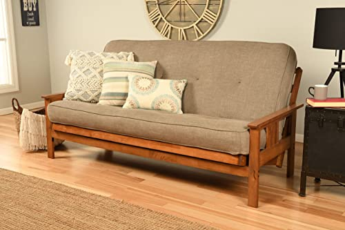 Kodiak Furniture Monterey Futon Set with Barbados Finish, Full, Linen Stone
