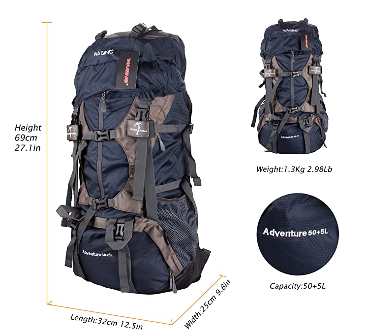 WASING 55L Internal Frame Backpack Hiking Backpacking Packs for Outdoor Hiking Travel Climbing Camping Mountaineering with Rain Cover