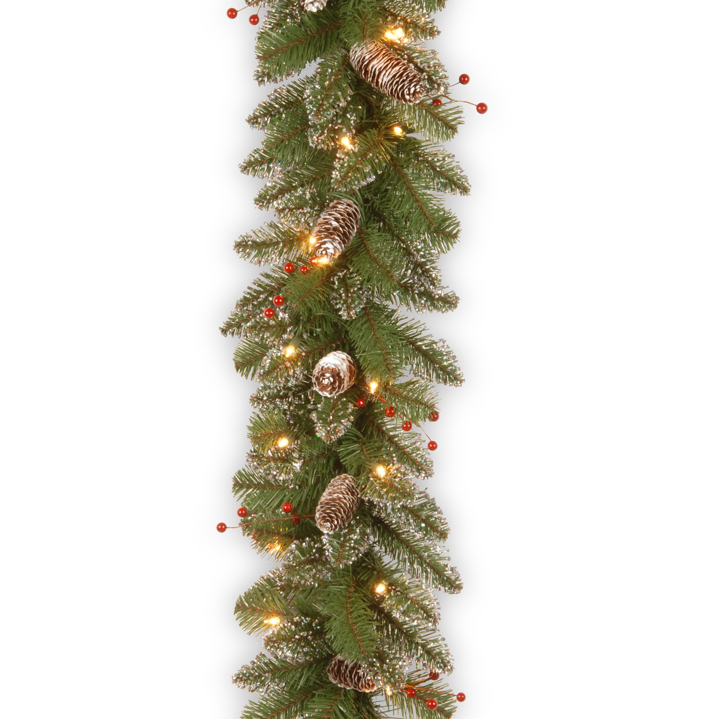 National Tree 9 Foot by 10 Inch Glittery Mountain Spruce Garland with Red Berries, White Tipped Cones and 50 Clear Lights (GLM1-300-9A-1)
