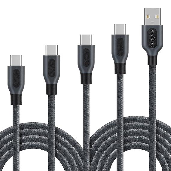 Amazon.com: USB-C Cable, 4-Pcs (1ft,3ft,6ft,10ft) Fasgear Durable ...