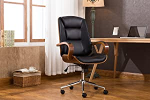 Porthos Home Austin Adjustable Office Chair with Variable Height, 360 Swivel, Chrome Base with Roller Wheels, Armrests & PU Leather Upholstery (Home Studios & Offices), One Size, Black