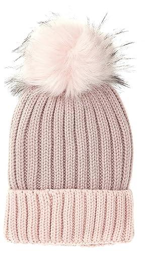 New Look Faux Fur Pom, Gorro de Punto para Mujer, Rosa (Light Pink), Talla única