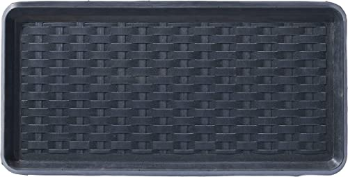 HF by LT Panama Weave Rubber Boot Tray, 32 x 16 inches, One-Piece Seamless Construction, Durable Vulcanized Rubber, Year Round Use Indoors or Outdoors, Black
