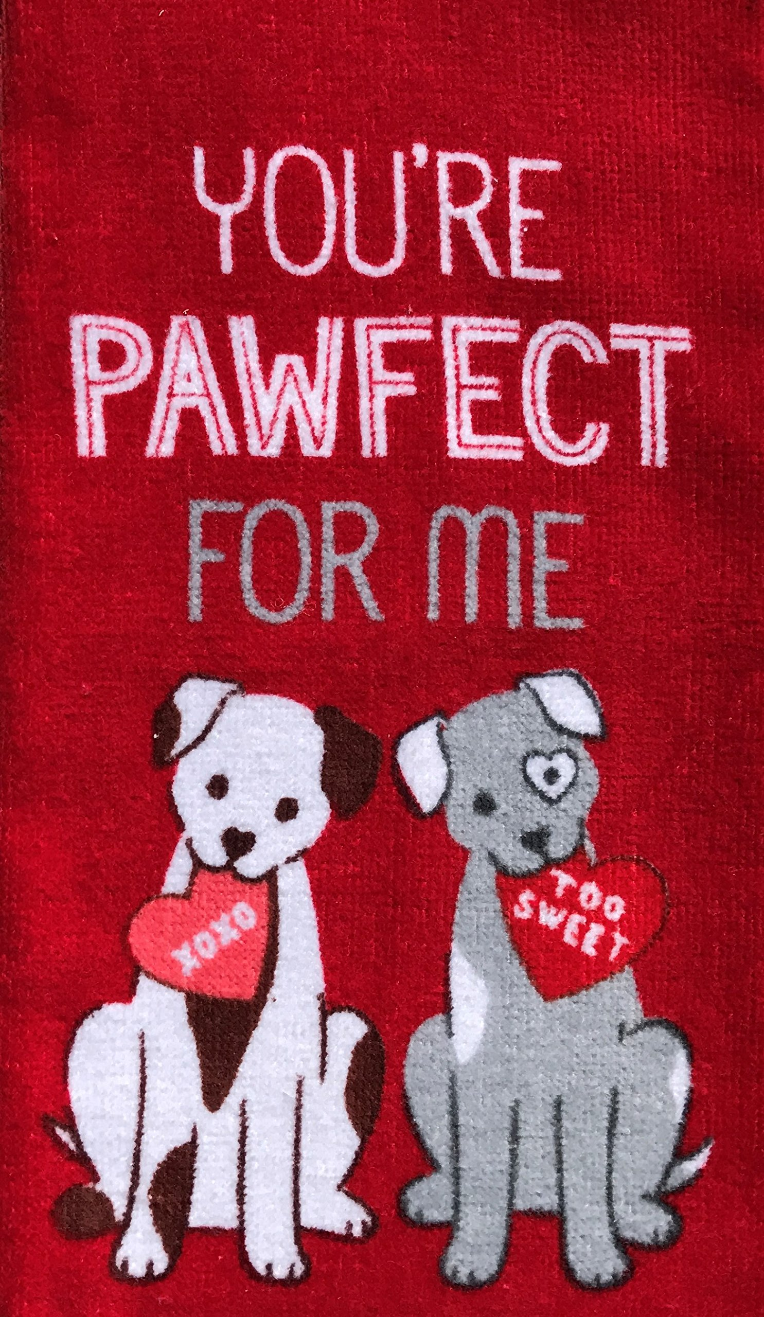 Love Be Mine, You're Pawfect For Me - Celebrate Valentine Cotton Kitchen Towels TWO Sets of (2)