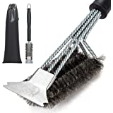 GRILLME Grill Brush with Nylon Bag and Attached Scraper, 18 Inches Sturdy Handle and Long Lasting BBQ Brush with Triple…