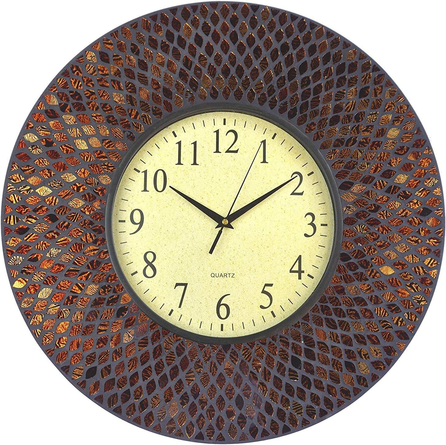 """Lulu Decor, 19"""" Amber Comb Mosaic Wall Clock with Black Cement, Arabic Number Glass Dial 9.5"""" for Living Room & Office Space (LP73)"""