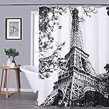 Central Park Paris Shower Curtain Black and White Effiel Tower Print Decorative Bathroom Curtain Modern Landscape Art…