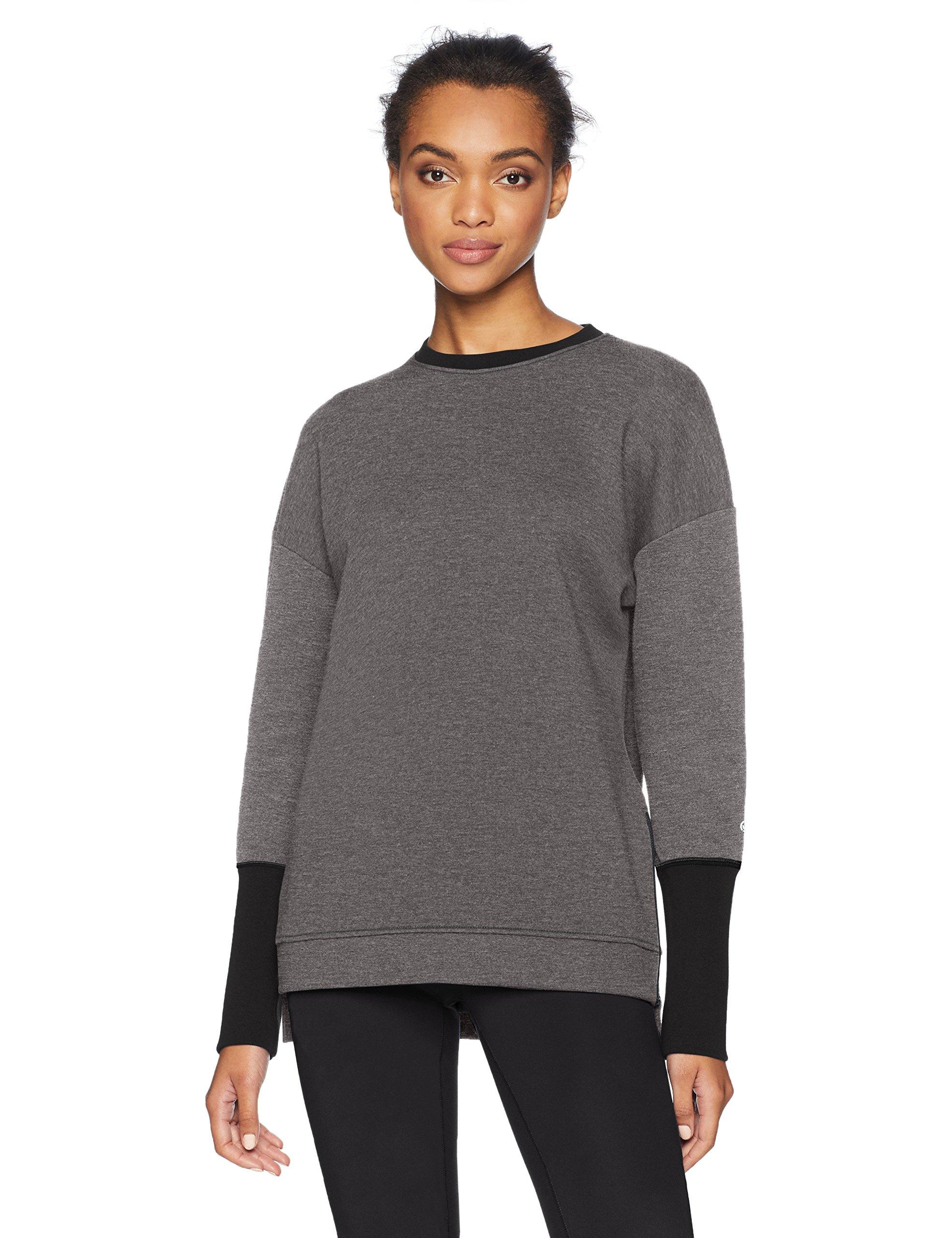Core 10 Women's Motion Tech Fleece Relaxed Fit Long Sleeve Crew Sweatshirt, Medium Grey Heather, S (4-6)