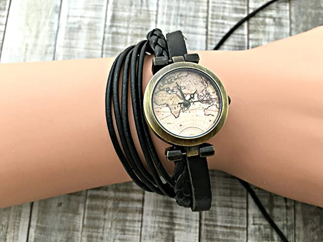 Amazon.com: Map World Map Wrap Bracelet Leather Watch, Leather Wrap ...