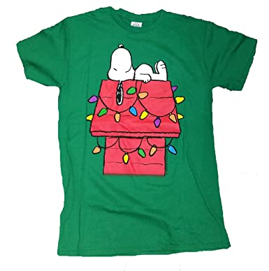 c33f4040 Amazon.com: Peanuts Snoopy Christmas Lights Dog House Graphic T-Shirt -  Large: Clothing