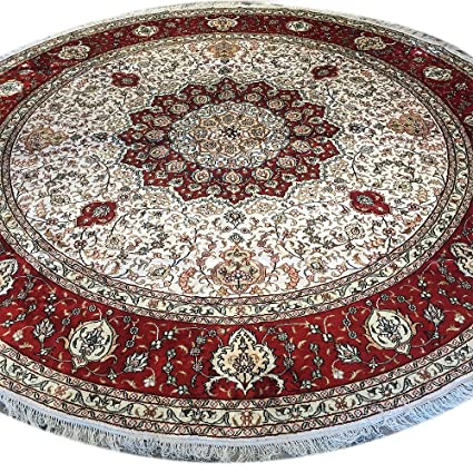 Amazoncom Yilong 10ft Round Rugs For Living Room Red Handmade