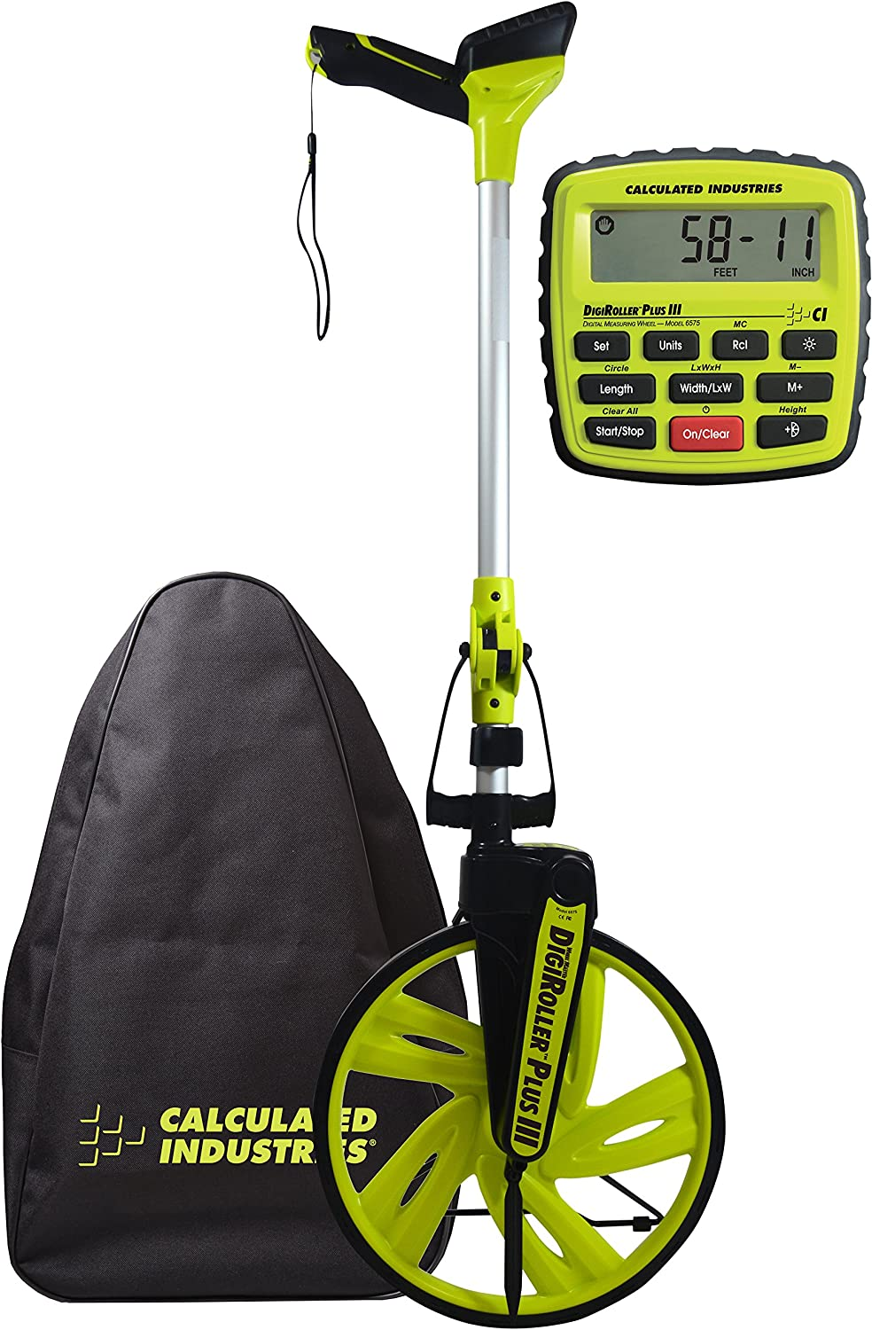 Calculated Industries #6575 DigiRoller Plus III 12.5 Inch Estimators Electronic Distance Measuring Wheel with Large Backlit Digital Display; Measure in Feet, Inches, Meters, Yards; FREE Carrying Pack
