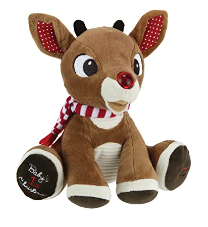 rudolph the red nosed reindeer babys first christmas rudolph plush with music lights