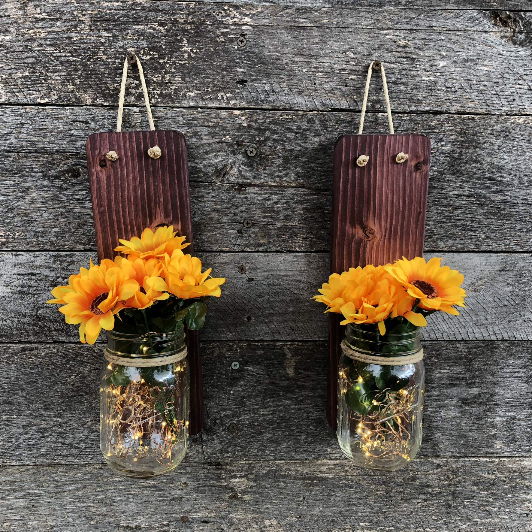 Rustic Mason Jar Wall Sconce Set of 2 with Sunflowers and LED Lights by Tennessee Wicks