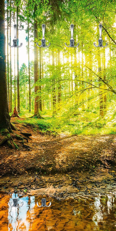 Artland Qualitätsmöbel mit I Garderobe mit Qualitätsmöbel Motiv Holz Bedruckt und Metall Haken Landschaften Wald Fotografie Braun F1YL Wald mit Bach 94c7f7