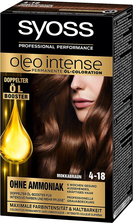 Syoss Oleo Intense Tinte para el cabello 4-18, marrón moca, 3 unidades (3 x 115 ml)