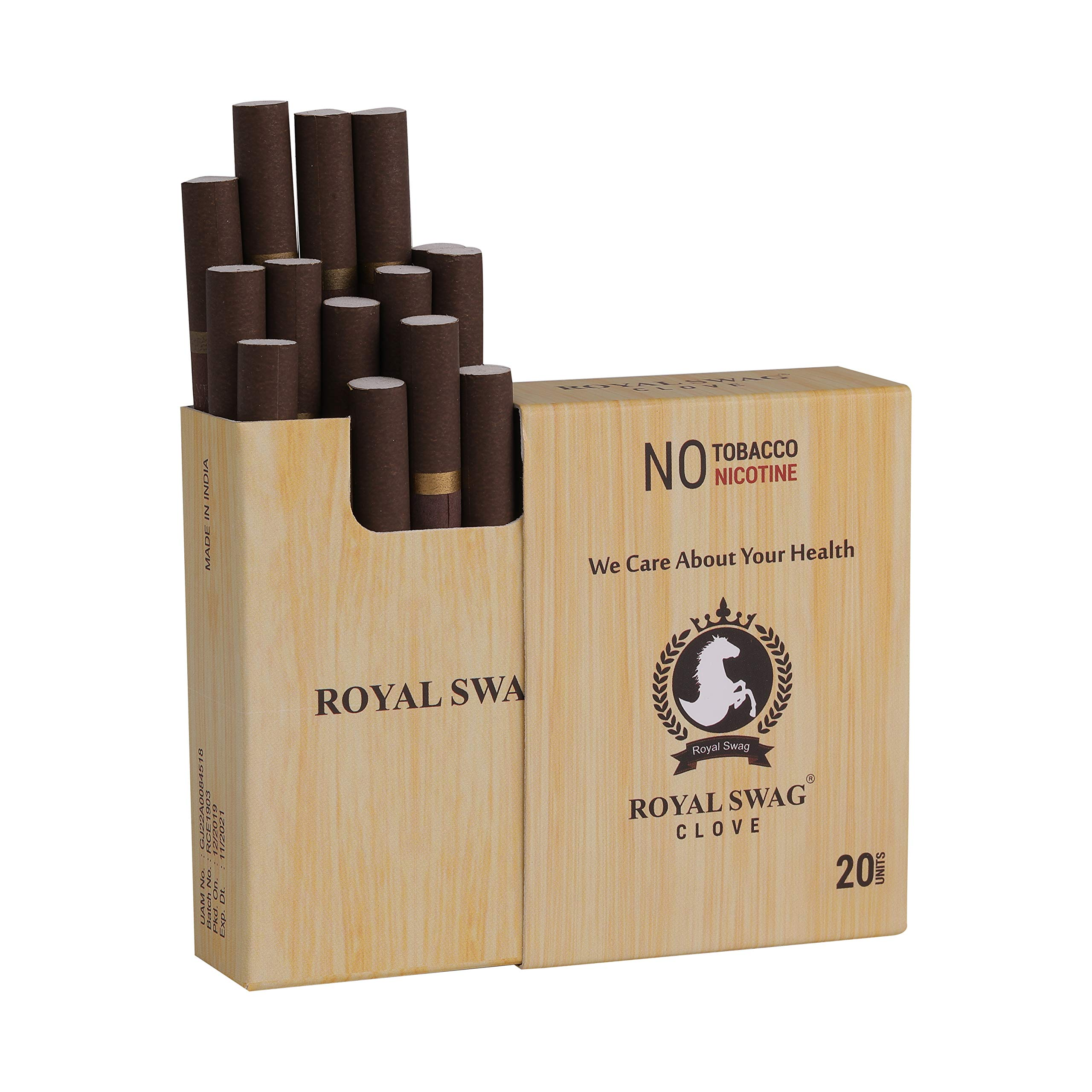 Royal Swag Ayurvedic Cigarette 20Unit Pack Clove Flavour Nicotine Free and Tobacco Free