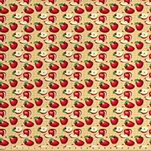 Lunarable Apple Fabric by The Yard, Red Apples Whole and Sliced on Wicker Natural Wood Background Graphic Print, Decorative Fabric for Upholstery and Home Accents, 1 Yard, Brown Green