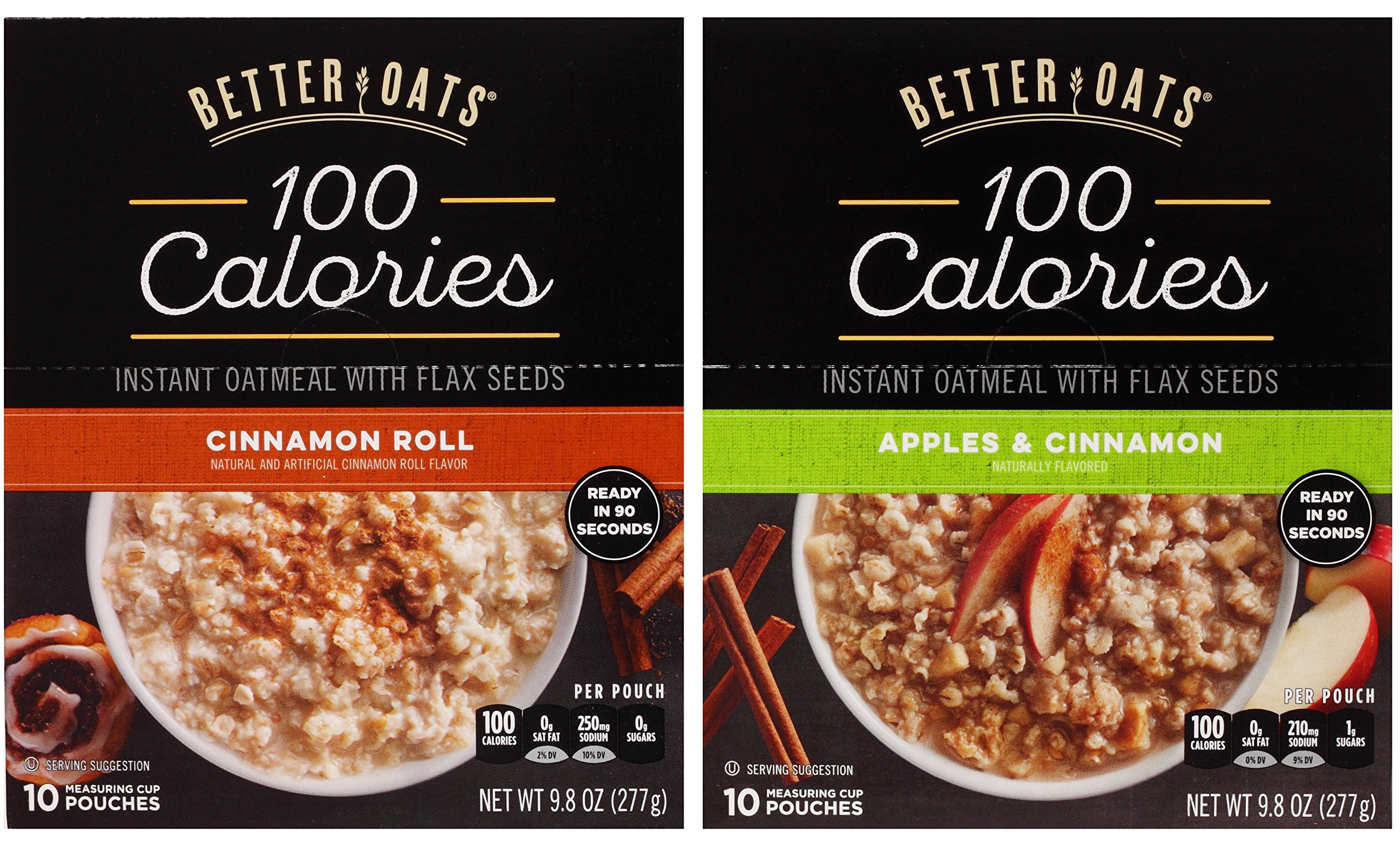 Better Oats Oat Fit Bundle: (1) Cinnamon Roll 9.8oz, (1) Apples & Cinnamon 9.8oz (2 Boxes Total) by Better Oats