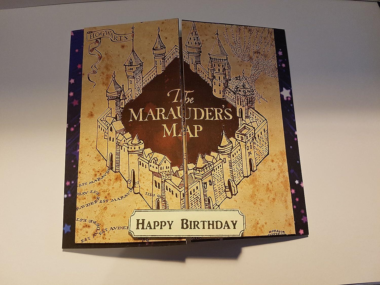 Tarjeta de cumpleaños con el mapa de Marauders inspirado en ...