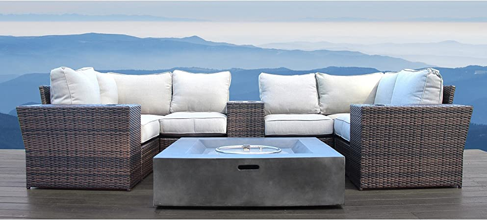 living source international patio sofa with fire pit table no assembly required patio furniture sofa garden sectional furniture set resort grade