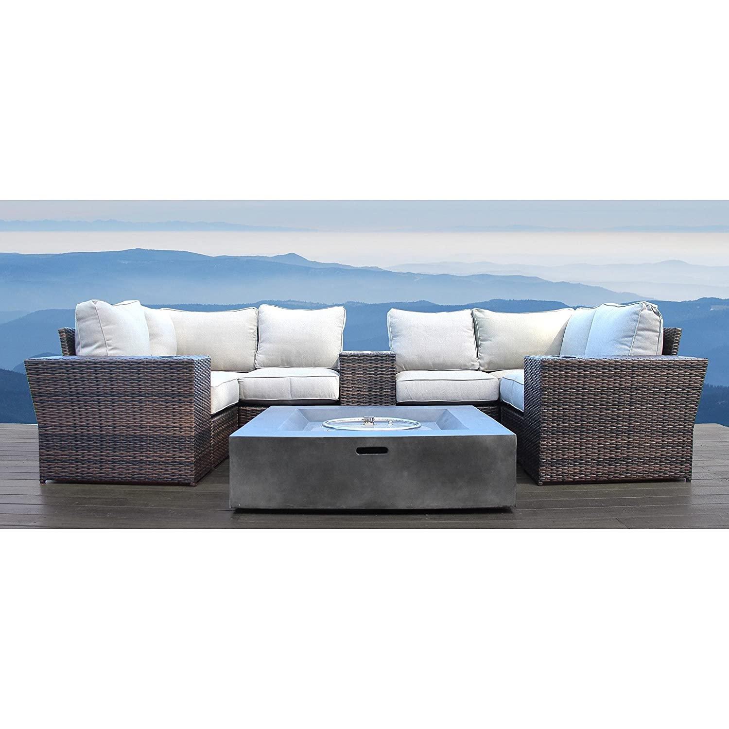 amazon com patio sofa with fire pit table no assembly required rh amazon com  patio furniture sets with propane fire pit