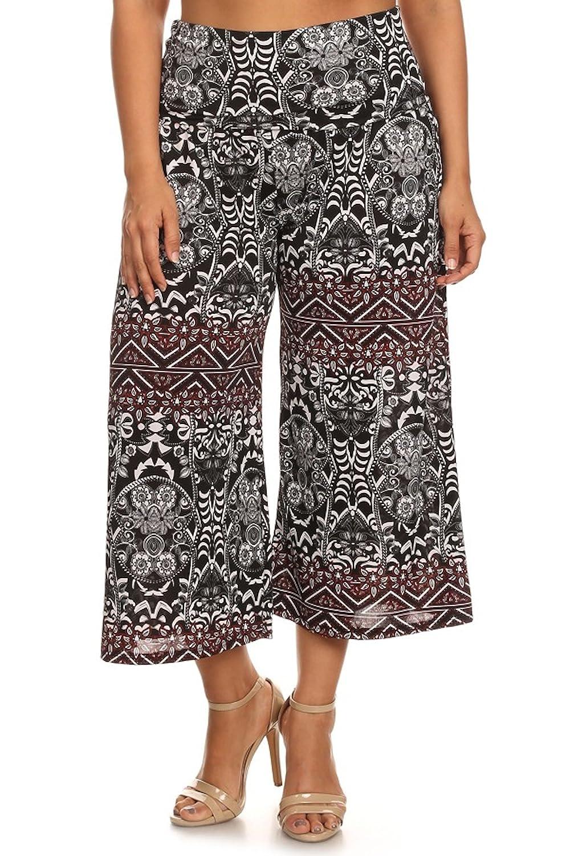 Canari Women's Plus Size Palazzo Wide Leg Paisley Capri Pants Black
