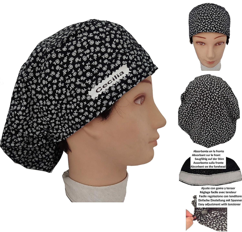 Gorros QUIROFANO FLORECILLAS Negras para pelo largo con Absorbente frontal y tensor ajustable: Amazon.es: Handmade