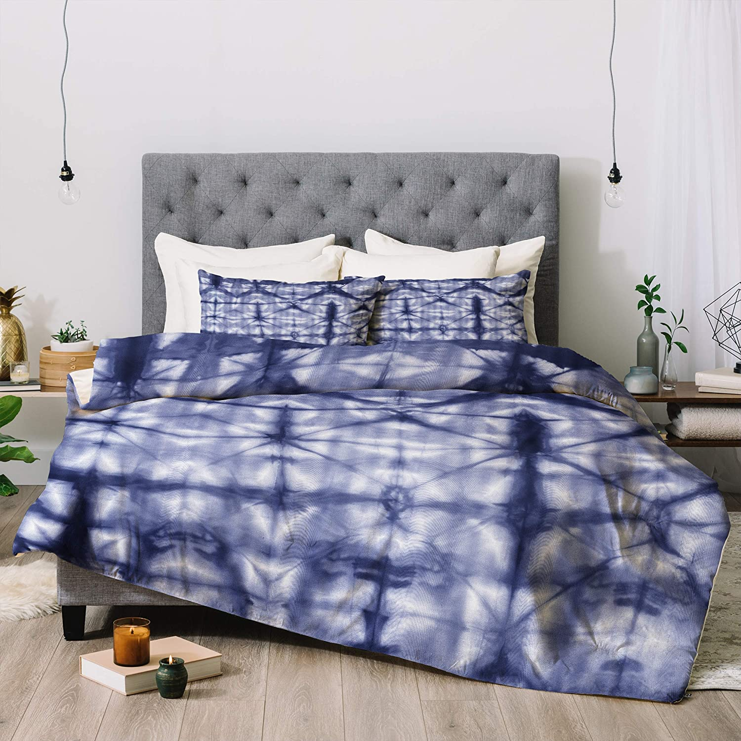 Deny Designs Amy Sia Tie Dye 2 Navy Comforter Set with Pillow Shams, King, Blue