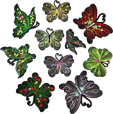 Embroidery 8 pcs Butterfly Patch Sew on Applique Sticker for clothing Bling patch DIY Patch