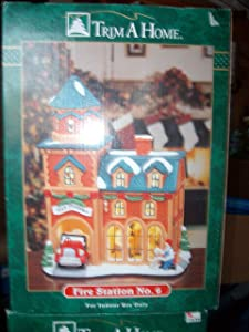 Trim A Home FIRE Station No. 6 - Hand Painted Porcelain Lighted House