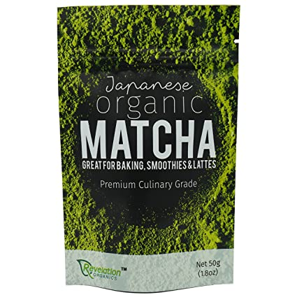 Revelation Organics   Certified Organic Matcha Green Tea Powder 50g   Premium Japanese Culinary Grade   Direct From Nishio Japan   Vegan Natural Healthy Plantbased Diet Cooking Baking Mixing Smoothies by Revelation Organics