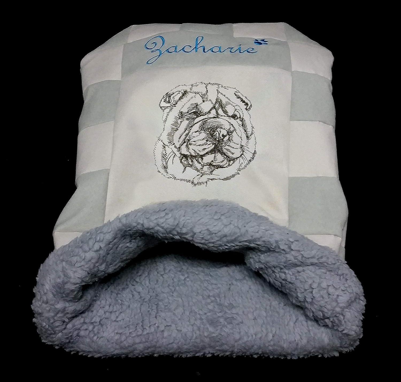 LunaChild Hunde Kuschelhöhle Schlafsack Kuschelsack Hundebett Shar Pei Sharpei 1 Name Snuggle Bag Größe S M L oder XL in vielen Farben erhältlich