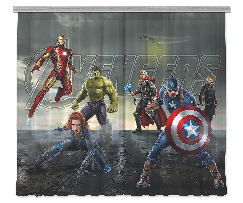 AG Design Avengers Marvel Kinderzimmer Gardine Vorhang, 2 Teile Stoff MultiFarbe 280 x 245 cm