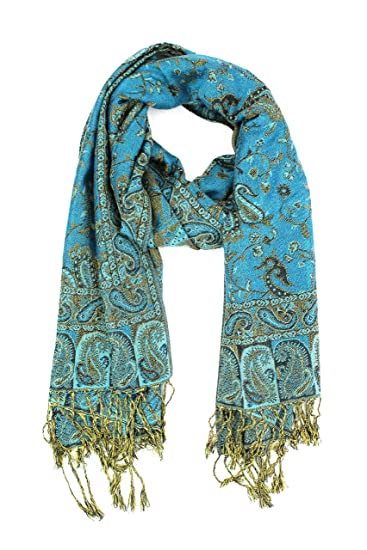 aefb7ea99 Paskmlna Reversible Paisley Pashmina Shawl Wrap Elegant Colors  (##13Turquoise/black)